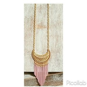 Gold Crescent with Pink Chain Fringe Necklace Set